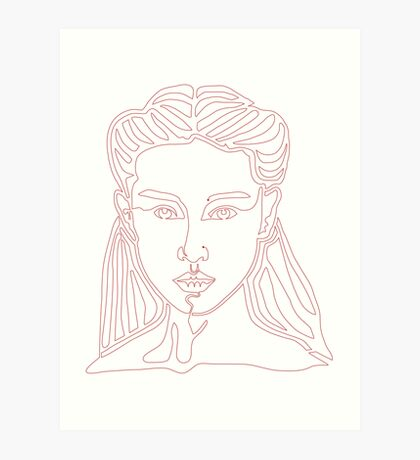 One line face - Lady Art Print