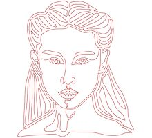 One line face - Lady Photographic Print