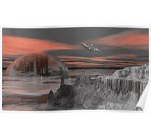 Antarctica Sunset Recon Poster