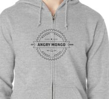 Angry Mongo Hipster Doofus Logo Outline Zipped Hoodie