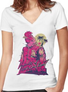 Hotline Miami - Richard Women's Fitted V-Neck T-Shirt