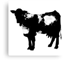 Cow black and white brush paint splash Canvas Print