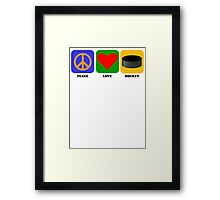 Peace Love Hockey Framed Print