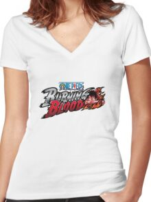 One Piece Burning Blood Women's Fitted V-Neck T-Shirt