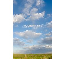Moon in the afternoon at the Pawnee in Spring Photographic Print