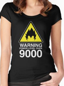 WARNING: Power Level Over 9000 Women's Fitted Scoop T-Shirt