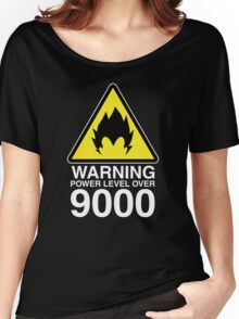 WARNING: Power Level Over 9000 Women's Relaxed Fit T-Shirt