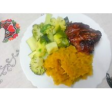 Steak, Broccoli, Zucchini And Mashed Yams Photographic Print
