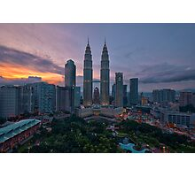 Twin Towers at Sunset Photographic Print