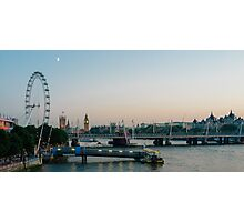 London Skyline at Twilight - London Eye - Parliament - River Thames Photographic Print
