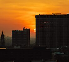 Croydon Skyline Sunset - Croydon Clocktower - St Georges House by Randall Murrow