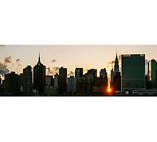 New York City Skyline - Sunset - Manhattanhenge - Chrysler Building Photographic Print