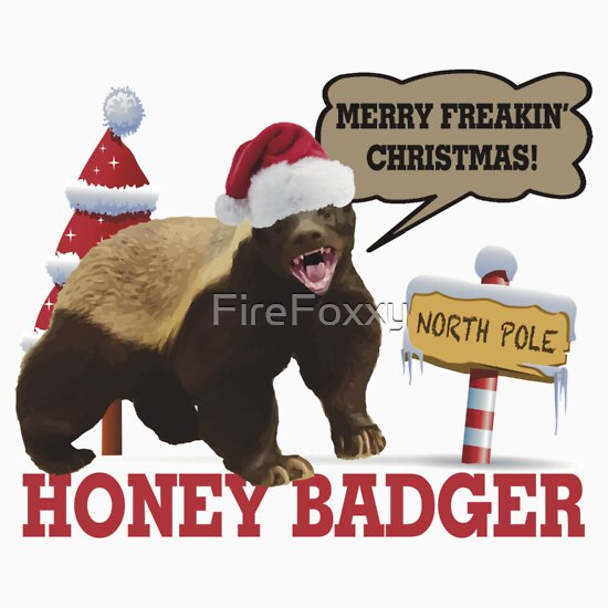 Honey badger merry freakin 39 christmas stickers by for Badger christmas decoration
