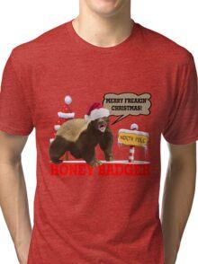 Honey Badger Merry Freakin' Christmas Tri-blend T-Shirt
