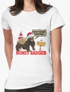 Honey Badger Merry Freakin' Christmas Womens Fitted T-Shirt