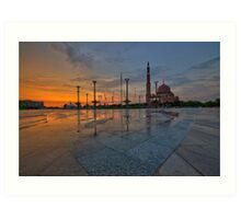 Sunset at Putra Mosque, Putrajaya Art Print