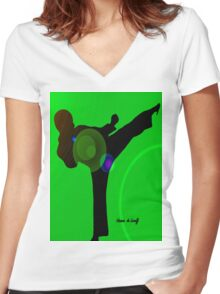 Just kicked in Women's Fitted V-Neck T-Shirt