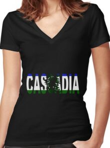 Cascadia, Flag in Letters Women's Fitted V-Neck T-Shirt