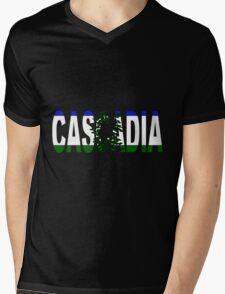 Cascadia, Flag in Letters Mens V-Neck T-Shirt
