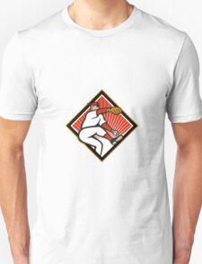 American Baseball Pitcher Throwing Ball Cartoon Unisex T-Shirt