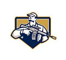Soldier Military Serviceman Assault Rifle Retro by patrimonio