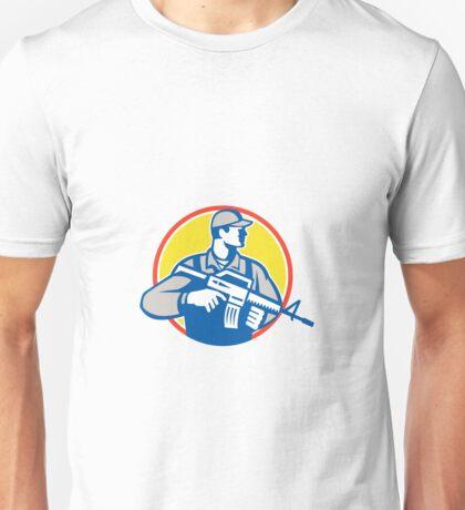 Soldier Military Serviceman Assault Rifle Side Retro Unisex T-Shirt