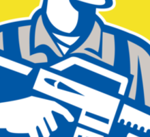 Soldier Military Serviceman Assault Rifle Side Retro Sticker