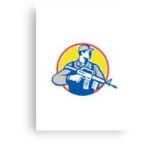 Soldier Military Serviceman Assault Rifle Side Retro Canvas Print