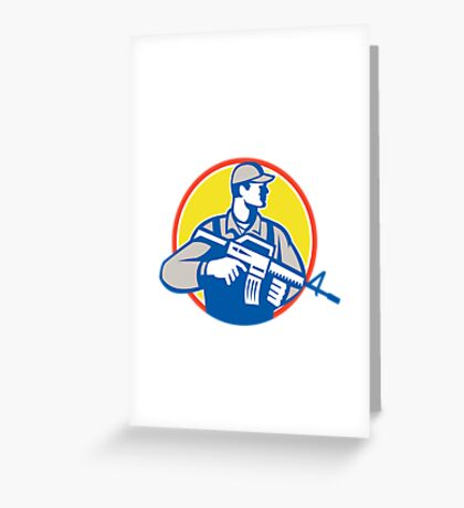 Soldier Military Serviceman Assault Rifle Side Retro Greeting Card