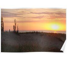 Sunset along Lake Michigan at Silver Beach - 1 Poster