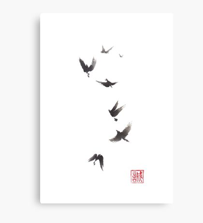 Black pennant sumi-e painting Canvas Print