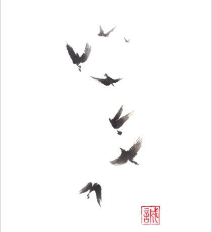 Black pennant sumi-e painting Sticker