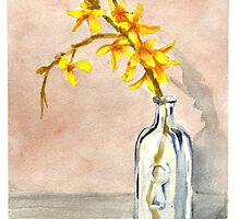 forsythia in a glass jar, floral by resonanteye