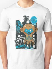 Be Aware Bad Monkey Brown And Blue T-Shirt
