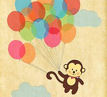 Adorable Monkey Flying Away with Balloons  by RumourHasIt