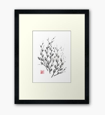 Gentle promise sumi-e painting Framed Print