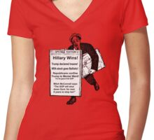 Newspaper on Election Eve: HILLARY WINS! Women's Fitted V-Neck T-Shirt