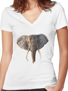 Elephant Face Women's Fitted V-Neck T-Shirt