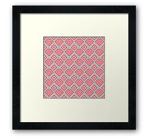 Pixel art abstract pink hearts Framed Print