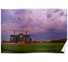 Construction Site under a cloudy, purple sky Poster