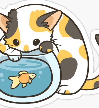 Calico Kitty and Goldfish Sticker