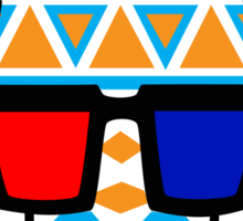 Tribal Print Giraffe w/ 3-D Glasses Sticker