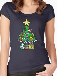 Super Mario - Mushroom Kingdom Christmas Women's Fitted Scoop T-Shirt