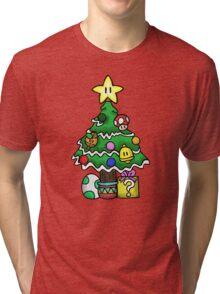 Super Mario - Mushroom Kingdom Christmas Tri-blend T-Shirt