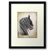 Black horse with flowing mane Framed Print