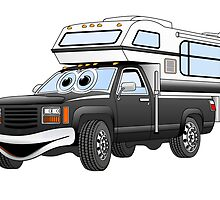 Black Cartoon Pick Up Camper by Graphxpro