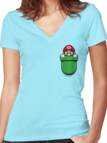 Pocket Plumber Women's Fitted V-Neck T-Shirt