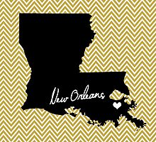 Home & Office Decor: New Orleans, Louisiana Print - Saints, Black and Gold by eeadhorne