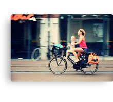 Rejecting the Automobile. Sporty Mum and Sporty Me. Amsterdam Canvas Print