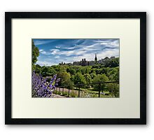 Princes Street Gardens and Ramsay Garden on Castle Hill Framed Print
